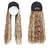 Baseball Cap Wig Hat with Hair Water Wave Synthetic Hair Extension Hair Piece with Black Cap for Women Fake Hair,3
