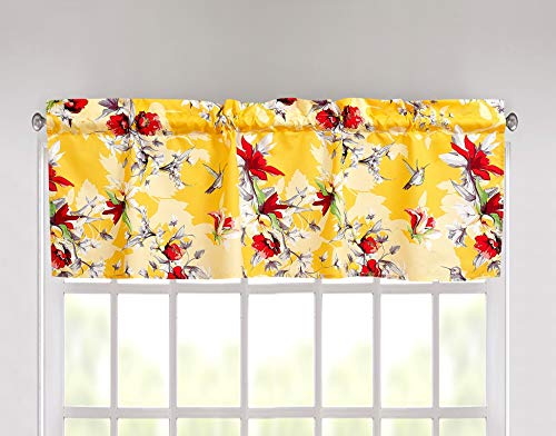 "DaDa Bedding Radiant Sunshine Window Curtain - Semi Sheer Yellow Valance Tailored Farmhouse Floral Hummingbirds - Bright Vibrant Multi-Colorful Red Flowers - 18"" x 52"""