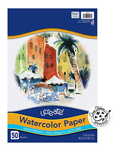 UCreate Watercolor Paper, White, Package, 90lb., 12' x 18', 50 Sheets
