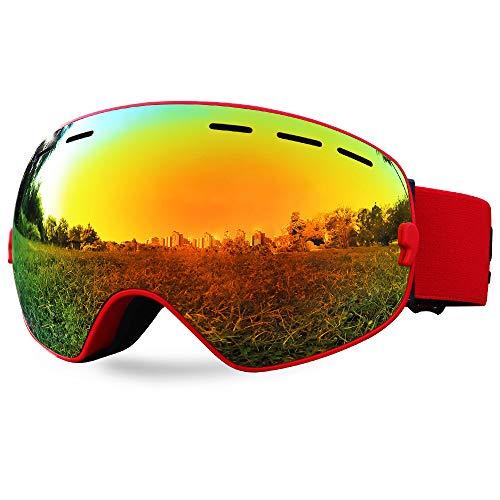 SPOSUNE Ski Goggles Over Glasses - Snow / Snowboard Goggle for Men, Women & Youth - UV400 Anti-Fog Snowmobile Goggles