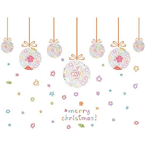 Winhappyhome Natale palline colorate adesivi da parete per cameretta soggiorno TV sfondo rimovibile Decor decalcomanie