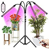 Kavai LED Grow Light,4-Head LED Grow Light with Tripod Stand for Indoor Plants,80 LED Full Spectrum Floor Grow Lamp with remote Controller,3/4/8/9/12H Timer