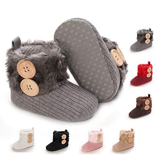 BENHERO Infant Baby Boys Girls Boots Premium Soft Sole Anti-Slip Warm Winter Snow Boots Newborn Crib Shoes(12-18 Months Toddler), M-Grey