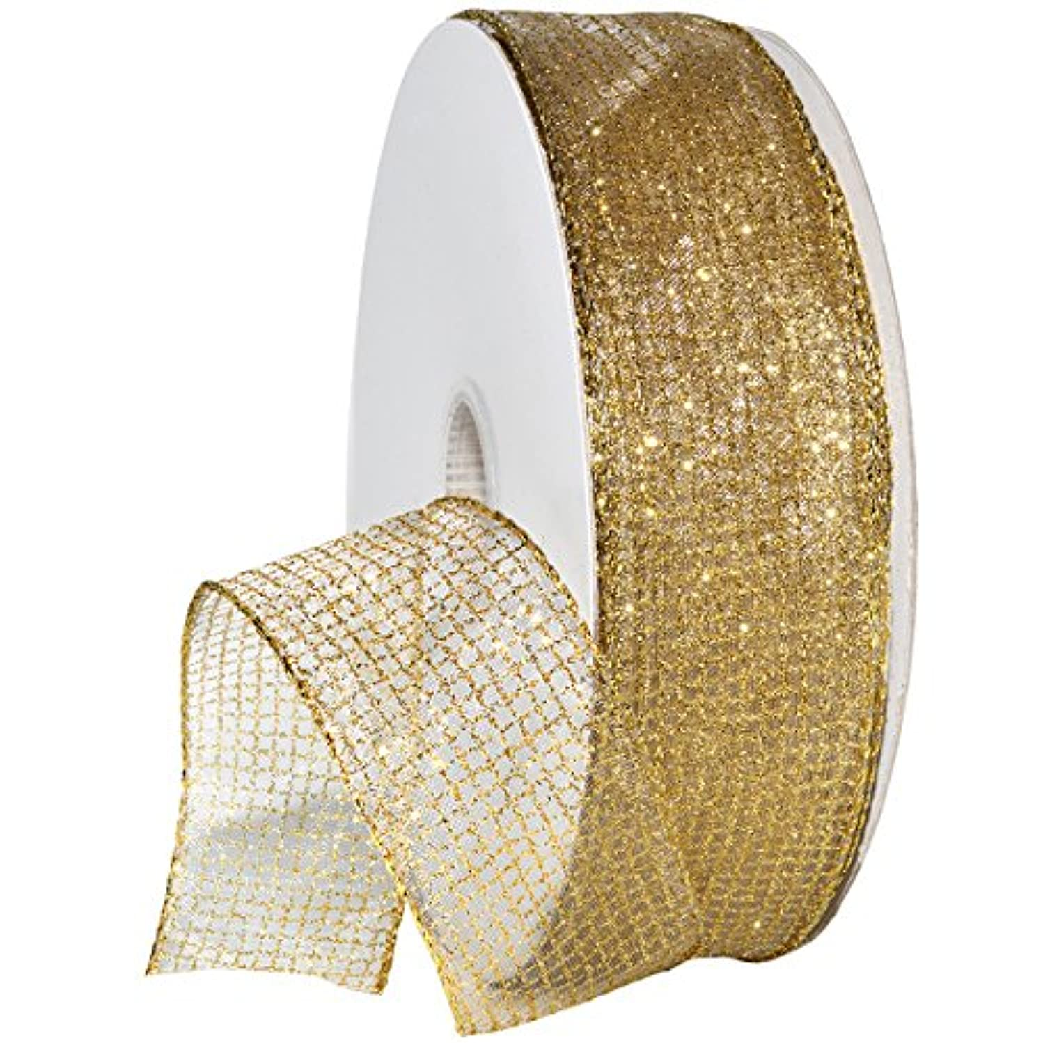 Morex Ribbon 7435 Cosmic Ribbon, Wired Organza with Glitter, 1-1/2 Inch, 50-Yard, Gold