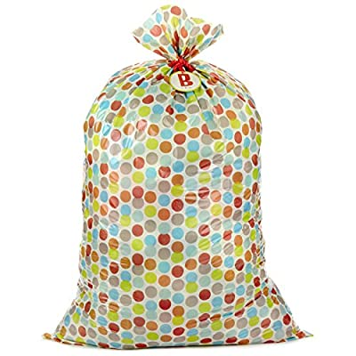 "Hallmark 56"" Large Plastic Gift Bag (B is for Baby, Multicolor Dots) for Baby Showers, New Parents and More"