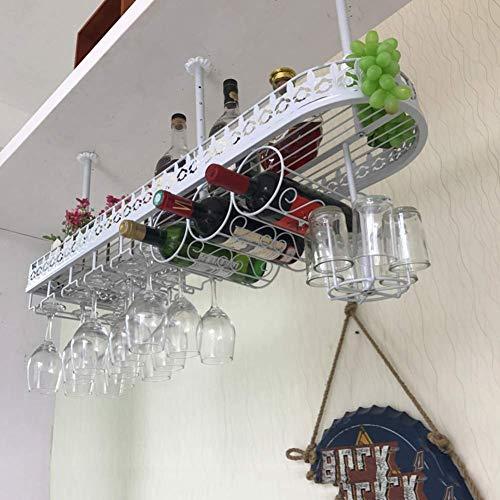 JY&WIN Estante para vinos Colgante de Metal, Soporte para Botellas de Vino de Europa Vintage para Colgar al revés Decoraciones para Copas de Vino Estante para Almacenamiento de Botellas de