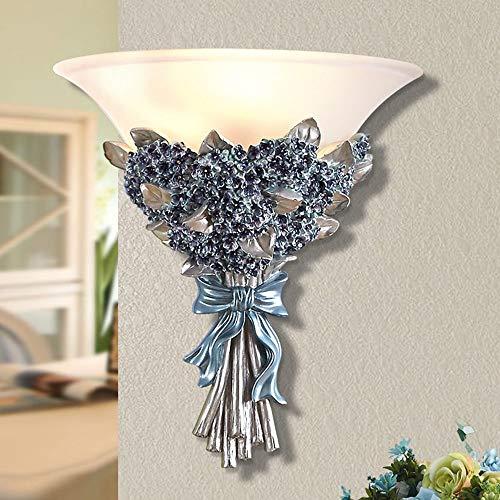 MGWA Lámpara de pared europea de pared para dormitorio, lámpara de pared de resina de color, estilo rústico, 1 lámpara de pared E27 (31 x 33 cm)