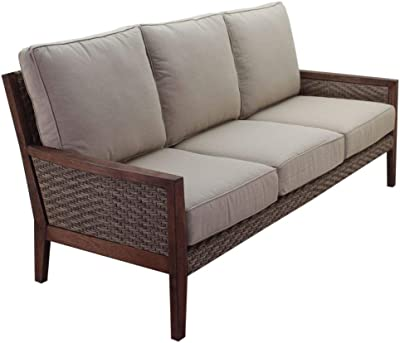 23 x 25 x 5 Charcoal Grey with Ivory Mozaic AZPCSET7253 Sunbrella Corded Outdoor Sofa Set