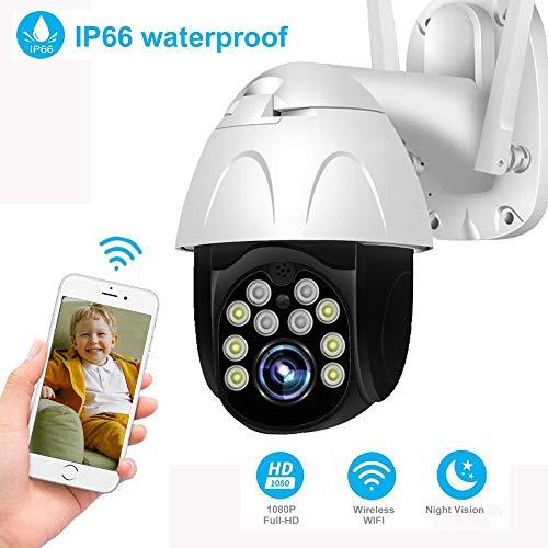 Camara WiFi Exterior 1080P IR Visión Nocturna IP65 Impermeable Advertencia Deportiva Cámara de Seguridad, Yoosee, para Hogar/Empresa