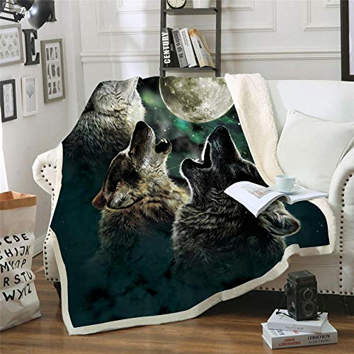 BEDSERG Luna Negra Noche Animal Lobo Manta de Tiro de en el sofá Manta de Sherpa de 3D Funda De Cama Edredón Cómodo Y Fino 150x200cm