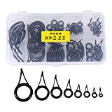 Dilwe 75Pcs Fishing Rod Guides, Fishing Rod Tip Repair Kit with Box for Fishing and Replacement Accessory