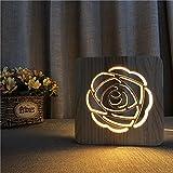 Luz De Noche Lámpara De Regalo Romántica Rosa Del Día Del Festival Creativo Luces De Noche De Madera Led 3D Para Decoración De Boda De Dormitorio Luz Ambiental