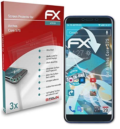 atFolix Schutzfolie kompatibel mit Archos Core 57S Folie, ultraklare & Flexible FX Bildschirmschutzfolie (3X)