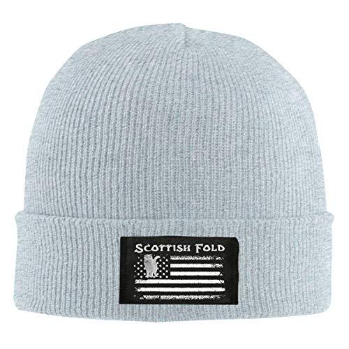 IHJK Jkkk Unisex Scottish Fold America Flag1 Skull Hats Knit Cap Winter Warm Cap Beanie Hats Gray