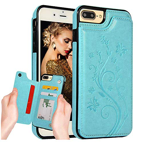 iPhone 8+Plus Wallet Back Case with Card Holder iPhone 7+Plus Slim Fit Embossed Butterfly Flip Scratch Resistant Shockproof Protective Cover [Double Magnetic Buttons] for Apple iPhone 7/8 Plus Green