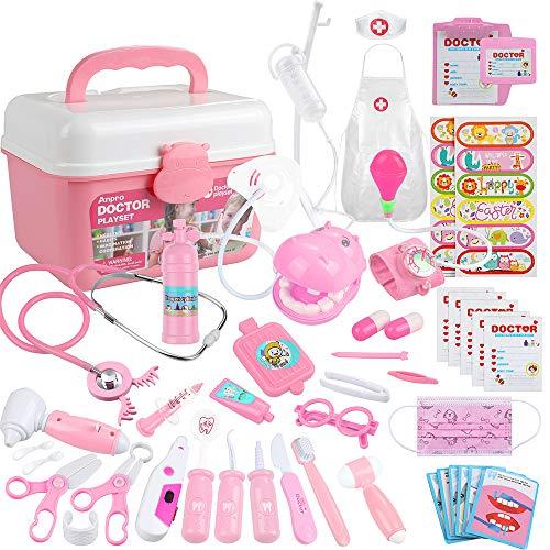 Anpro Kit Dottore Giocattolo per Bambini - 46 Pezzi Valigetta Dottore Bambini, Giocattoli Kit Infermiere Bambini, Giocare al Dottore Fai Finta di Giocare Dentista per Regali di Festa Rosa