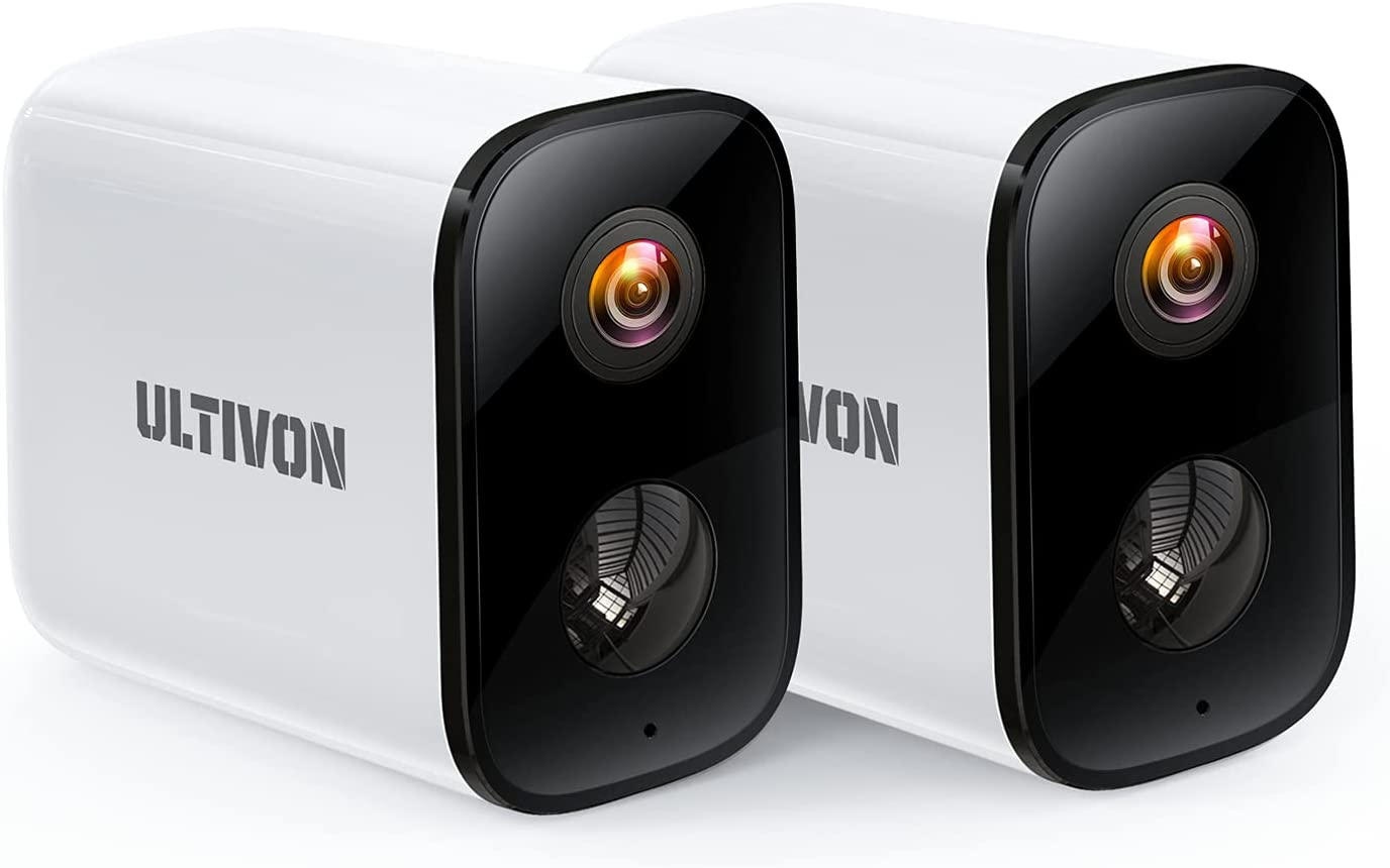 Outdoor Security Camera 2 Pack, Ultivon Wireless Surveillance Camera Rechargeable, WiFi CCTV Home System Camera with HD 1080P Day & PIR Night Vision, Motion Detection, 2 Way Audio, Weatherproof IP65