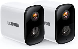Outdoor Security Camera 2 Pack, Ultivon Wireless Surveillance Camera Rechargeable, WiFi CCTV Home System Camera with HD 10...