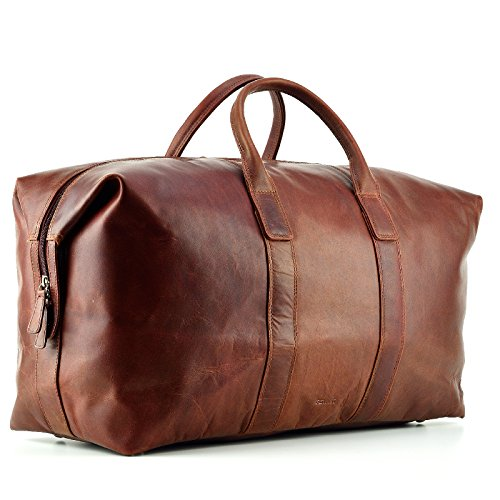 FEYNST Leder Weekender Reisetasche 42l Sporttasche Handgepäck Gross Kurzurlaub 52 x 22 x 37 cm Braun