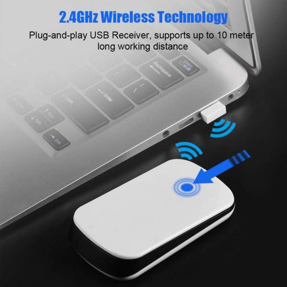 BINGFEI Mini Ergonomic USB Wireless Slim Mouse Touch Stripe Scroll 2.4G 1200 DPI Optical Mice for Notebook PC Laptop,White