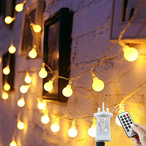 Globe String Lights Waterproof, 15M/49ft 120 LED Fairy Lights Plug in Powered, 8 Modes Christmas Lights Outdoor/Indoor, Garden Lights for Patio, Gazebo, Bedroom, Party Decorations (Warm White)