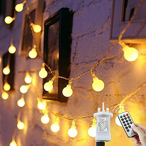 Globe String Lights Waterproof, 15M/49ft 120 LED Fairy Lights Plug in...