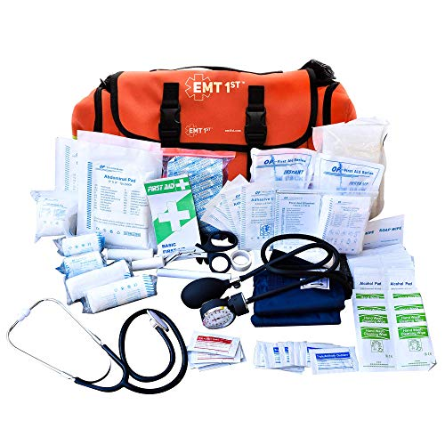 EMT 1st Emergency Responder First Aid Kit | Medical Trauma Bag for Disaster Preparedness | Perfect for Wilderness, Camping, Home, Car, & Office | Our Lightweight Kits come with 40 Unique items
