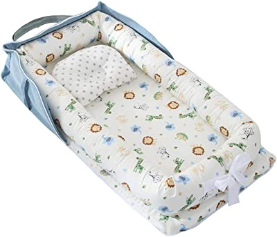Portable Bassinet for Sleeping,Portable Folding Travel Baby Cribs Toddler Multi-Function Bed Bag with Handle Grey Elephant