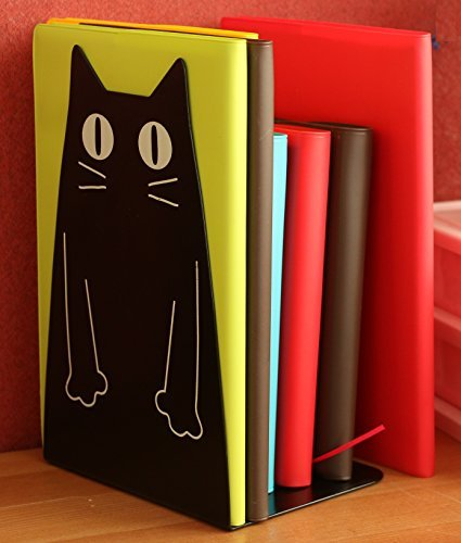 TOBSON Cute Cat Heavy Duty Bookend Nonskid Bookends Art Decoration,A Pairs(Black)