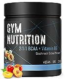 PREMIUM BCAA PULVER + VITAMIN B6 – Low carb 2:1:1 - Hochdosierte - Amino-Säuren Leucin, Isoleucin und Valin - Vegan - Traumhafter Geschmack: ICE TEA PEACH