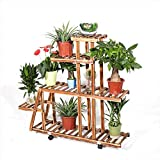 MASTER TRADE 5 Tiered Wooden Large Plant Stand Shelf with Wheels for Indoor...