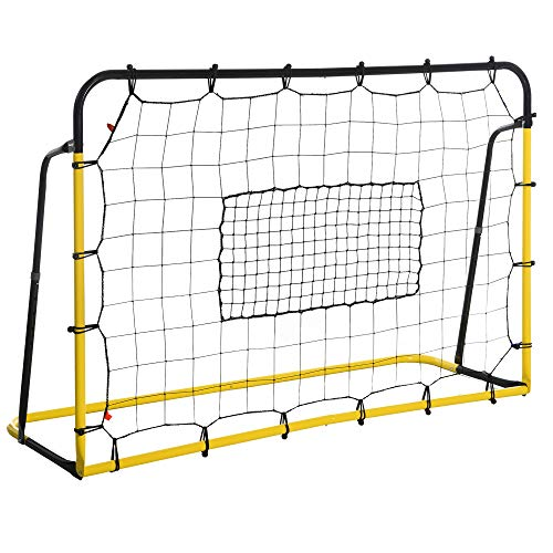 HOMCOM Kickback Fußball Rebounder Tor Rückprallwand Netz für Fußball, Basketball und Baseball, Stahl+PE, Gelb+Schwarz, 184 x 63 x 123 cm