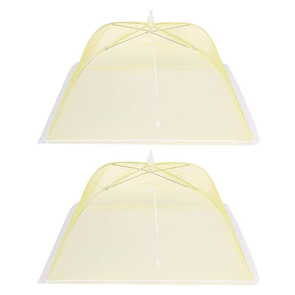 アルカトラズ島迫害食品カバー、屋外キャンプホームレストラン用2個折りたたみメッシュ布カバーテント傘、蚊や昆虫が食品に接触するのを効果的に防ぎ、再利用可能。