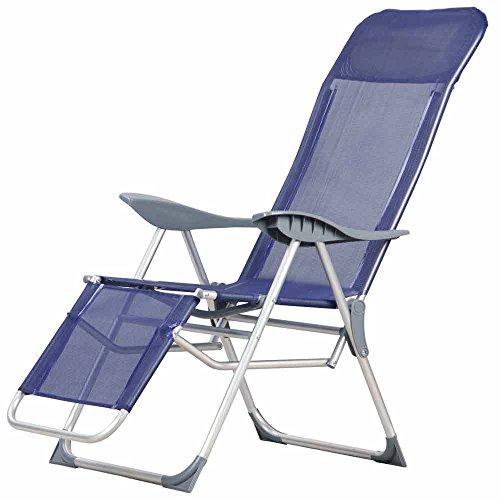 PAPILLON 8044212 Silla Playa Aluminio Atril 5 Posiciones con resposapies, Azul, 56x18x100 cm
