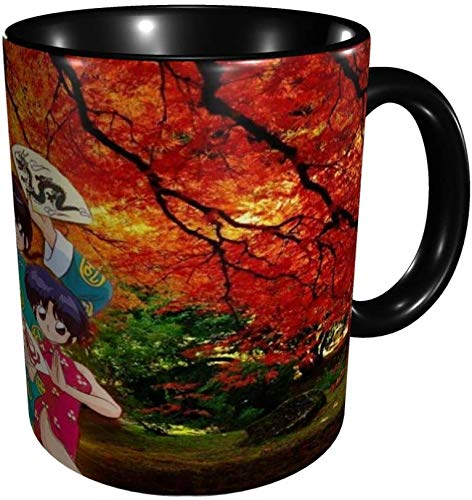 Ranma 1/2 Tazas Comics Anime Tazas de café Novedad Regalo Taza de café de cerámica Tazas de café de viaje para el hogar-Negro