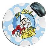 Innovativo Tappetino mouse tondo modello # Pinocchio - La Vita è avere naso # in microfibra e micro ventose diametro 17 cm, spessore di 1 solo mm. Alternativa al vecchio tappetino in Neoprene, si piega e si usa anche come un panno pulisci occhiali e/...