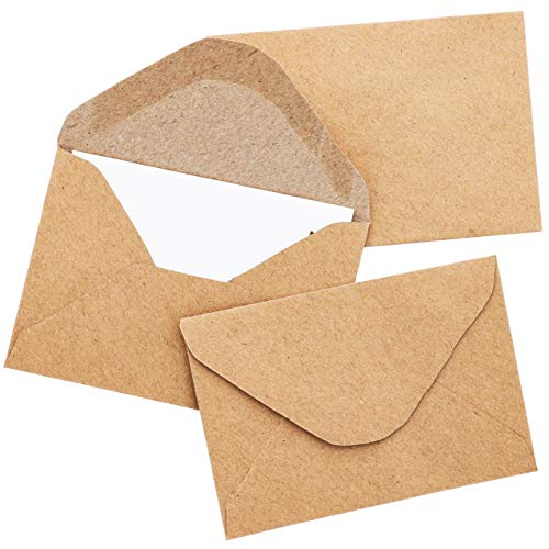 Juvale 100-Count Gift Card Envelopes Brown Kraft Mini Small Envelope for Business Cards Small Note Cards 4.1 x 2.75 Inches