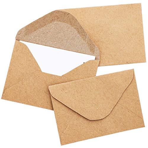 Mini-Kraftpapier-Briefumschläge von Juvale (100 Stück) – Mit Spitzer Klappe - Ideal für Geldgeschenke, Geschenkkarten/Gift Card, Visitenkarten, Dankeskarten –10,2 cm x 6,9cm