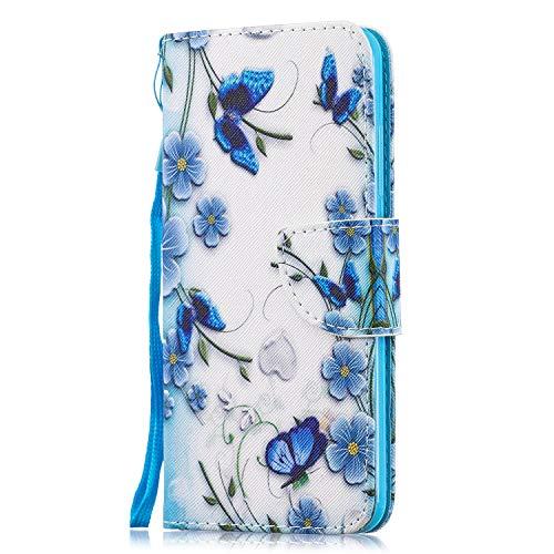 Funluna Hülle für Xiaomi Mi 8 Lite, Lederhülle Stoßfest Klapphülle Brieftasche, Trageschlaufe, Ständer, Kartenfächer, Magnetverschluss Handy Shell für Xiaomi Mi 8 Lite, Schmetterling