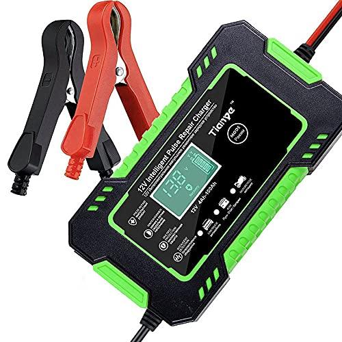 KKmoon Cargadores Batería Coche Moto Cargadores Universales 12V Inteligentes Recuperación de pulso Automático Mantenimiento para Automóvile, Motocicleta, ATV, RV, Powersports, Barco(Verde)