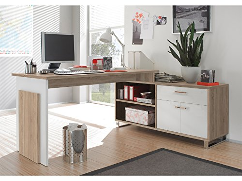 möbelando Winkelschreibtisch Schreibtisch Büroschreibtisch Eckschreibtisch Margate I Sonoma-Eiche/Weiß