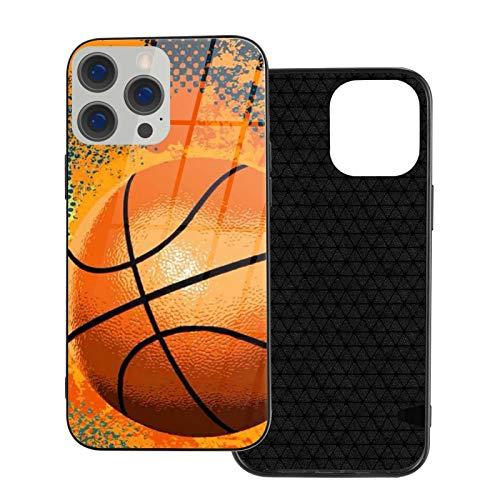 DOWNN Funda de cristal para iPhone 12 3D retro baloncesto flexible suave TPU protección trasera de vidrio templado a prueba de golpes para iPhone 12/12 Pro/12 Mini/12 Pro Max