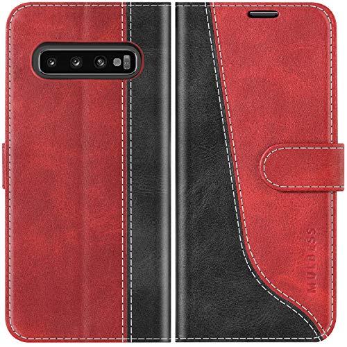 Mulbess Handyhülle für Samsung Galaxy S10 Hülle Leder, Samsung Galaxy S10 Handy Hüllen, Modisch Flip Handytasche Schutzhülle für Samsung Galaxy S10, Wine Rot