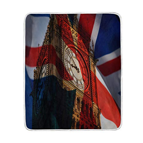 MNSRUU - Manta suave y cálida con la bandera británica de Big Ben London, para cama, sofá, viajes, camping, 127 cm x 152,4 cm, tamaño de manta para niños y mujeres