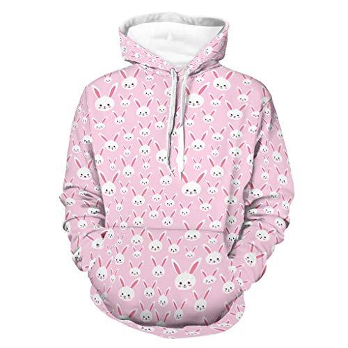 Shinelly Sudadera con capucha para hombre, diseo de conejo de Pascua rosa, con capucha, estilo retro, manga larga, con bolsillos blanco L