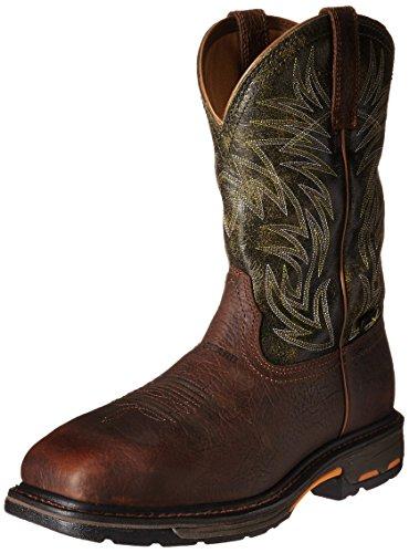 ARIAT mens Workhog Metguard Composite Toe Work Boot, Ridge Brown/Moss Green, 10.5 US