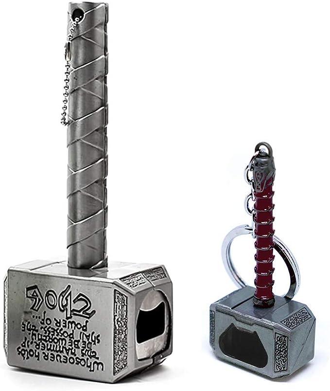 Nidavellir 2-Pack Mjolnir Bottle Opener Magnetic Thor Hammer Bottle Opener and Mjolnir Keychain Bottle Opener, Thor Beer Bottle Opener, Magnetic Bottle Opener for Refrigerator