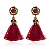 HENWERD Bohemian Statement Tassel Drop Dangle Stud Earrings for Women Christmas Gift (Red)