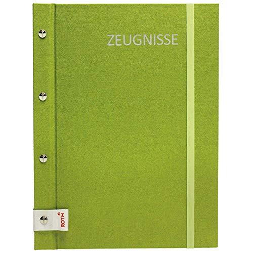 ROTH Zeugnismappe Metallium mit Buchschrauben - Green - mit 12 A4 Klarsichthüllen, erweiterbar