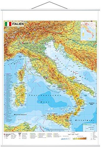 Italien physisch - Wandkarte mit Metallbeleistung